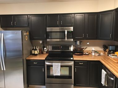 Before & After Cabinet Painting in Coatesville PA (Carbon Black Painted Cabinets with New Hardware) (3)